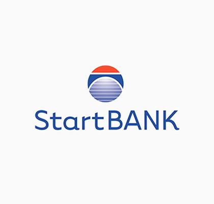 Logoen til StartBANK med hvit bakgrunn.