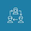 Ikon formet som en sirkel med blå bakgrunn. Viser omrisset av tre personer i sirkelformasjon med piler mellom seg. Symboliserer fleksibilitet.
