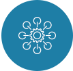 Ikon formet som en sirkel med blå bakgrunn. Viser omrisset av et diagram som symboliserer nettverk.
