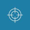 Ikon formet som en sirkel med blå bakgrunn. Viser omrisset av en blink som symboliserer god match.