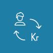 """Ikon formet som en sirkel med blå bakgrunn. Viser omrisset av en person og teksten """"Kr"""" med piler I en sirkel. Symboliserer merverdi."""